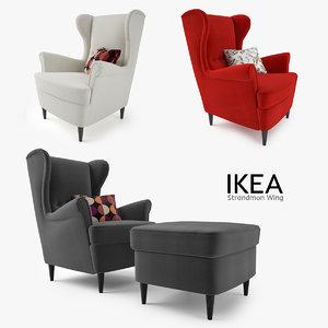 3d model ikea strandmon wing chair