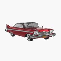 3d model plymouth fury 1958