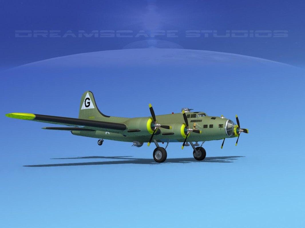 3d b-17 boeing flying fortress model
