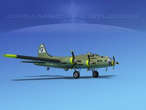 3d b-17 boeing flying fortress model