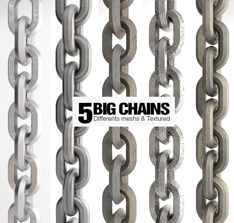 5 big chains realistic 3d model