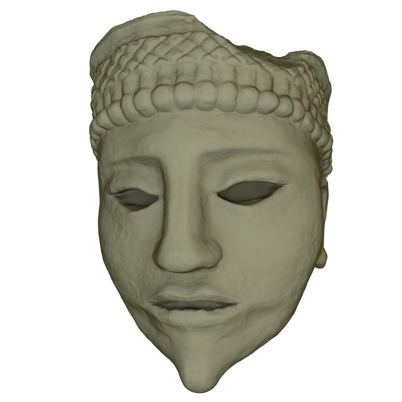 mayan face sculpture 3d 3ds