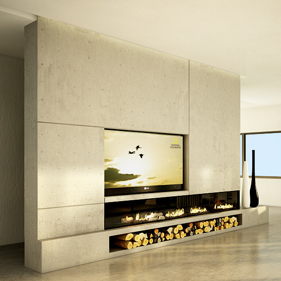 modern tv concrete wall 3d max