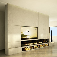 modern fireplace in tv concrete wall