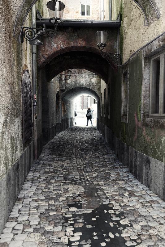 city old street scene 3d model