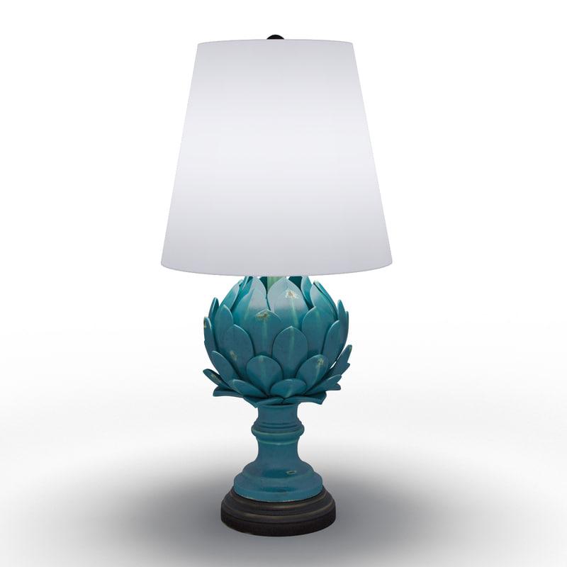 blue ceramic artichoke table lamp 3d model