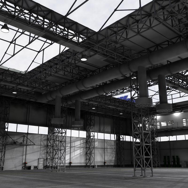 3d industrial building warehouse