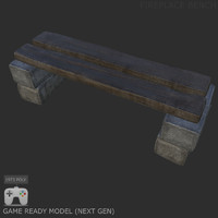 3d fireplace bench model