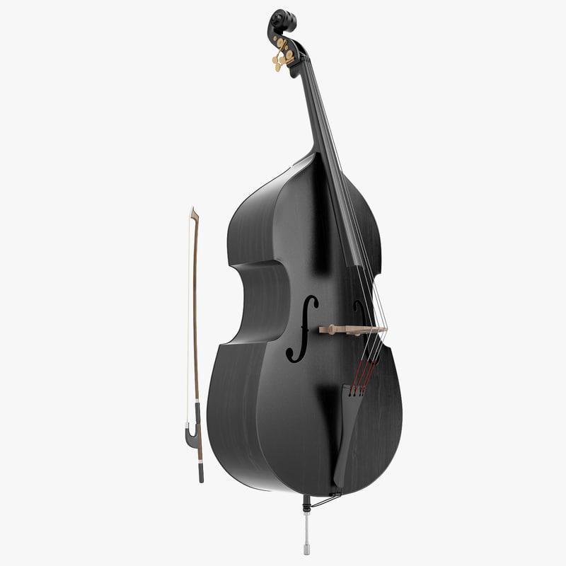 3d double bass black