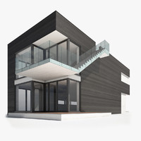 3ds max modern nordic wooden house