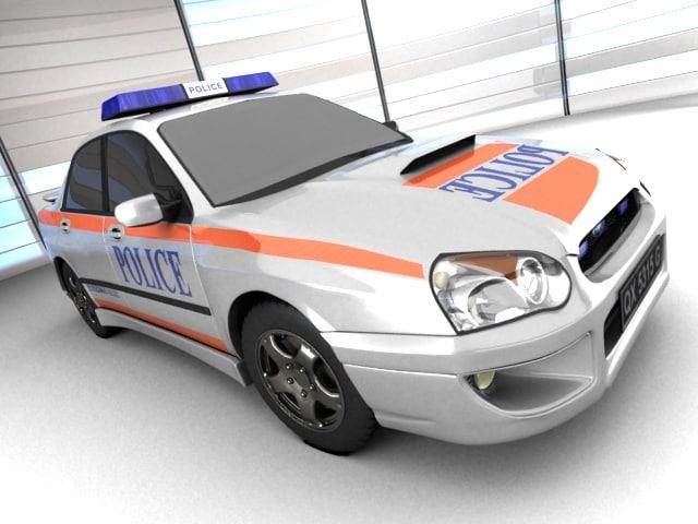 subaru wrx police 3d model