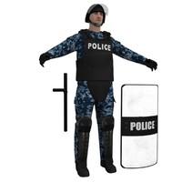 3d model of riot police officer 2