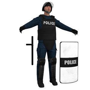 3d model riot police officer 4