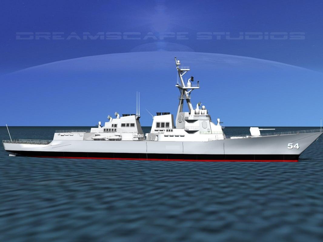 ship burke class destroyers 3d dwg
