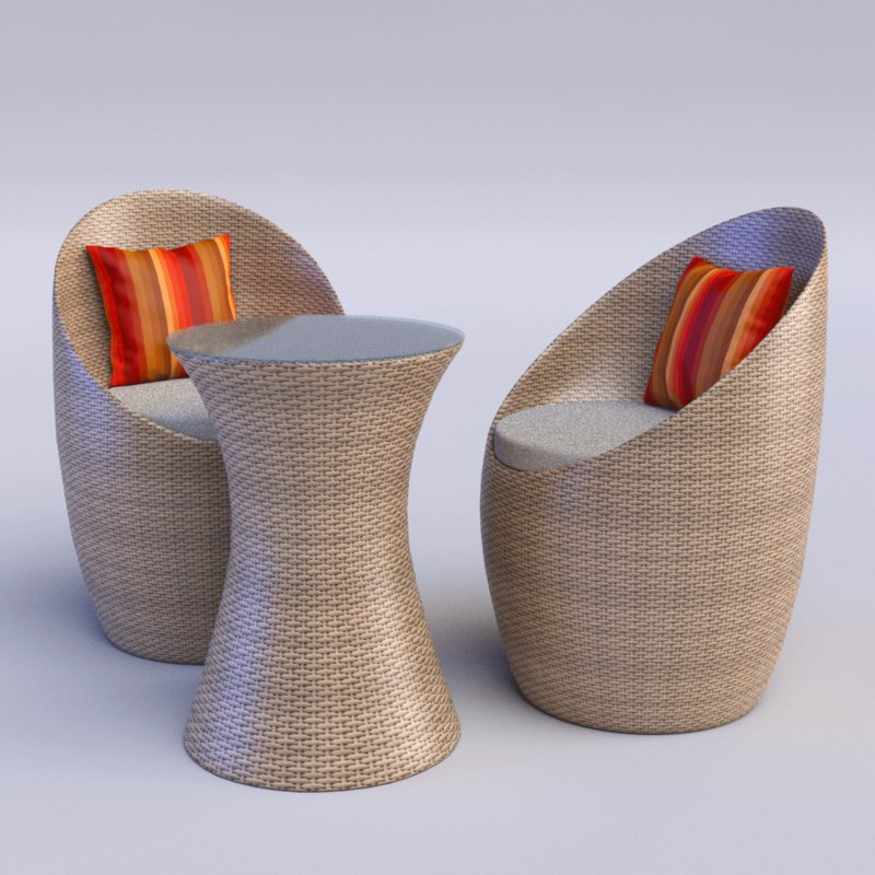 3d outdoor chairs