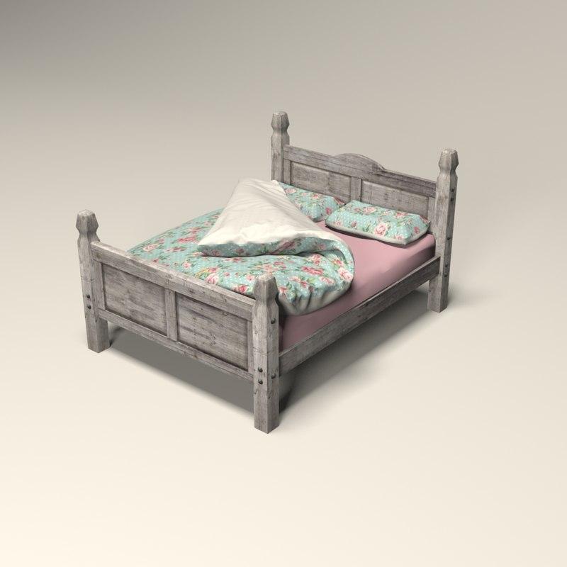 3d king size bed model