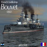 3d model french battleship bouvet world war