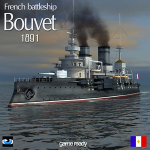 3d model french battleship bouvet world war