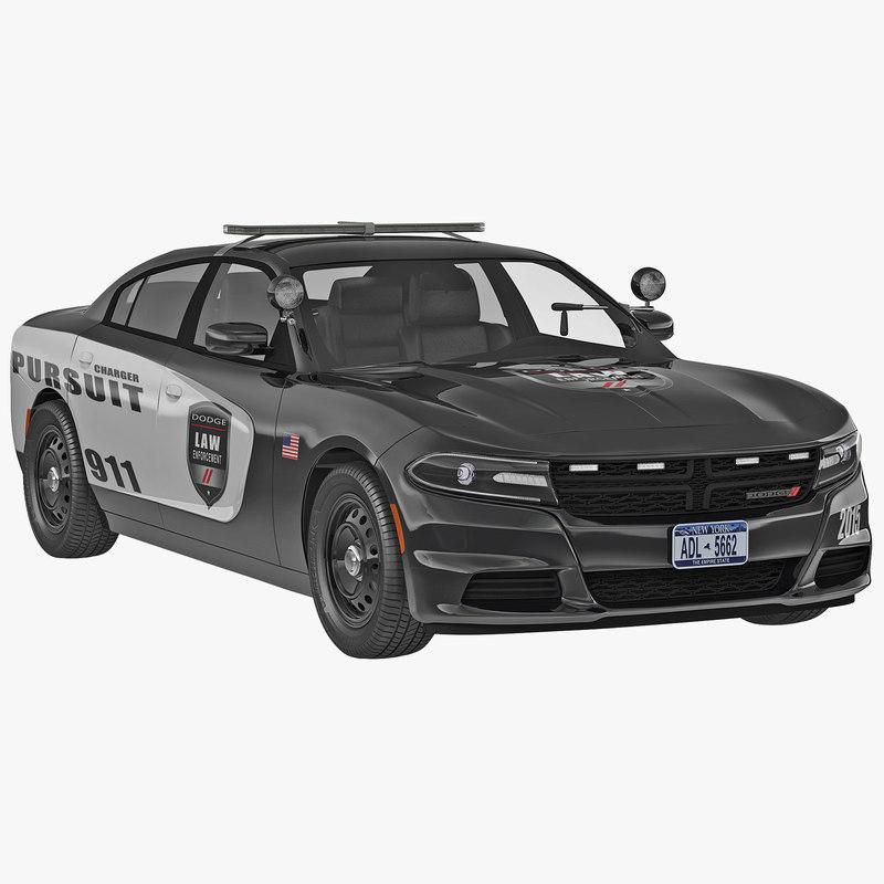 3d dodge charger 2015 police car model