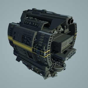 3d scifi base spaceship fighter model