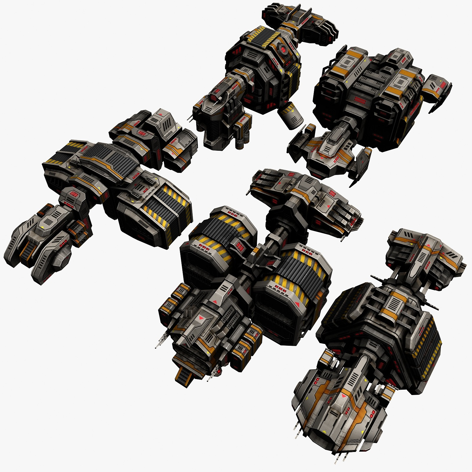 5 transport space ships 3d max