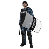 rigged riot police officer 3d model