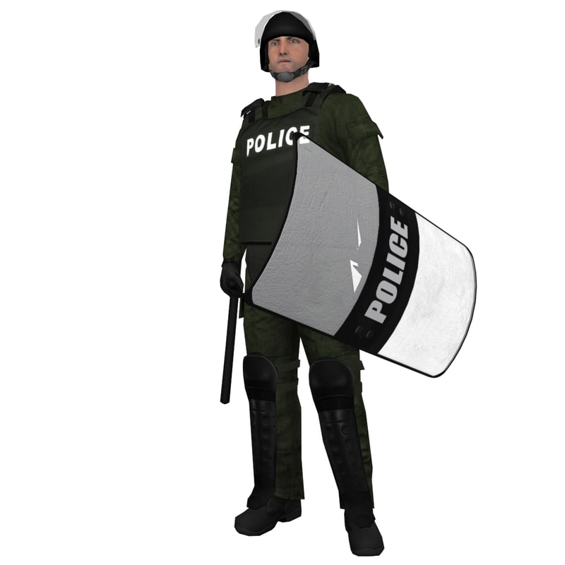 rigged riot police officer 3d max