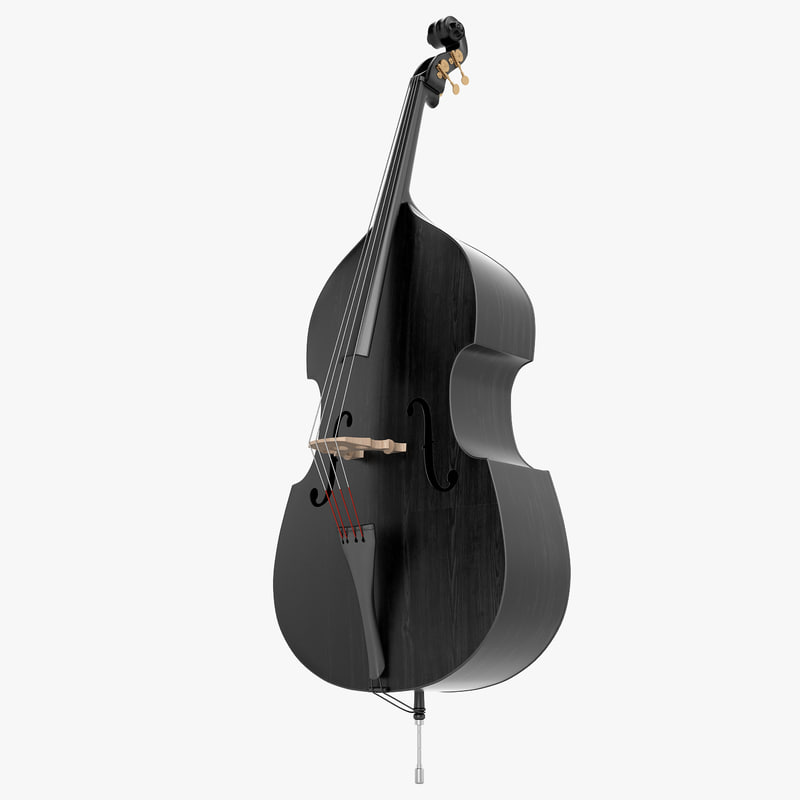 3d double bass black model
