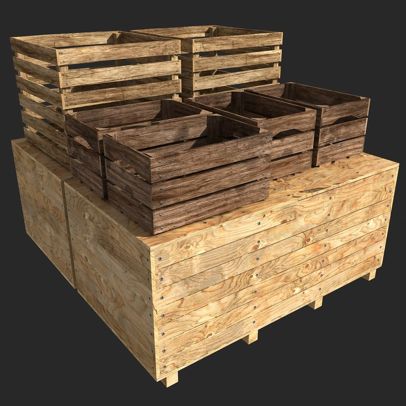 3d stacked crates model