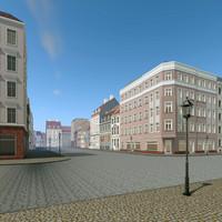 city scene residence 3d dxf