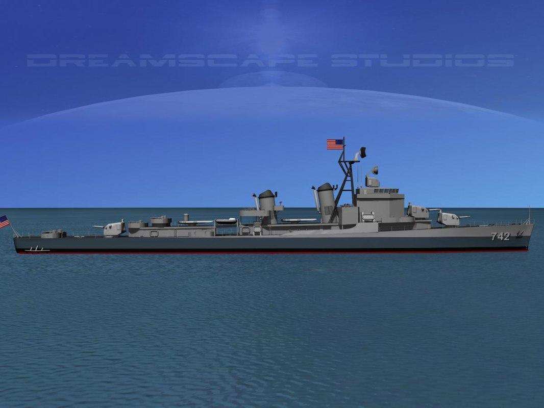 3d model anti-aircraft gearing class destroyers