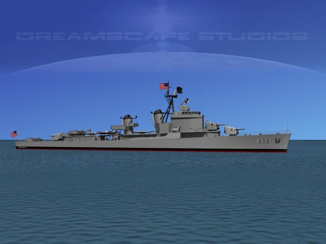 anti-aircraft gearing class destroyers 3d obj