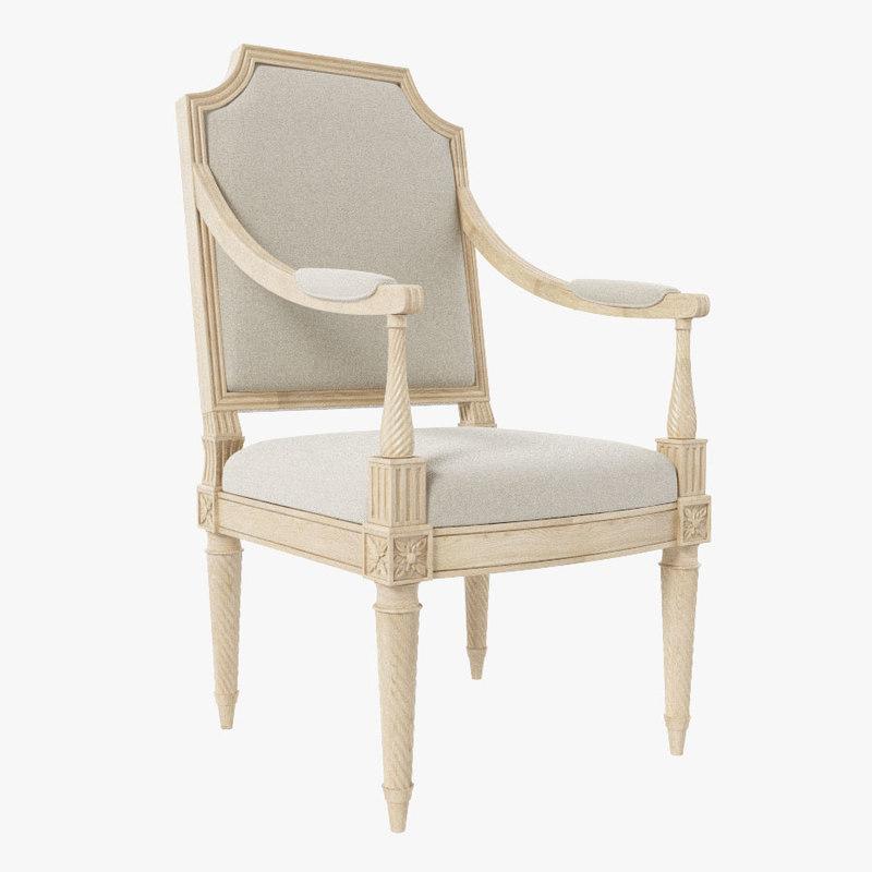 3d armchair louis xvi classic