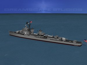 destroyer gearing uss navy 3d model