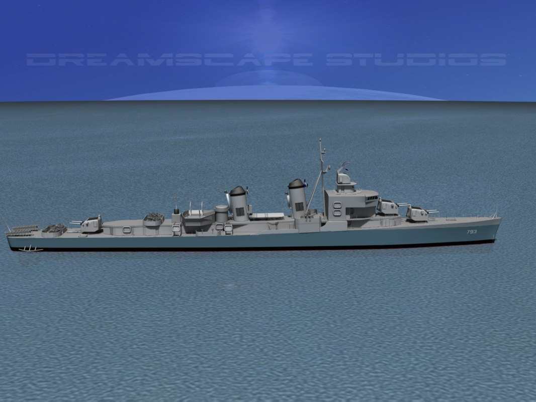sumner class destroyers 3d model