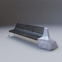 designer bench wood marble 3d model