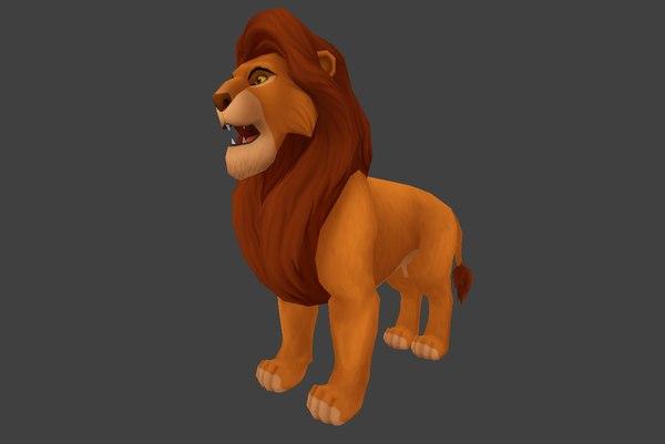 ready simba cartoon lion fbx