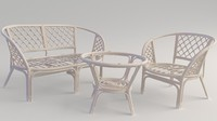 Garden Furniture Bamboo & Rattan Sofa Chair Table