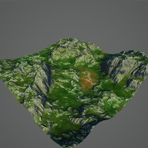hills terrain realistic obj