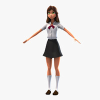 3d model rigged cartoon girl manga