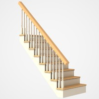 3d 3ds wooden stairs