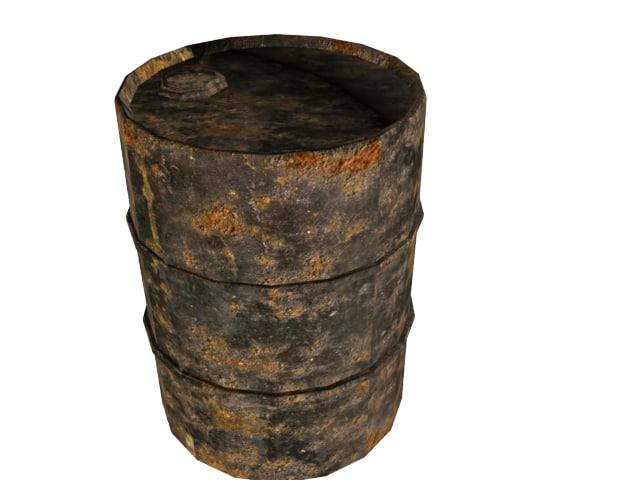 black rusty oil drum 3d model