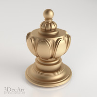 3d model decorative finial knob