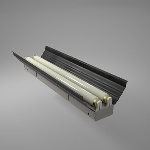 fluorescent light fixture 3d obj