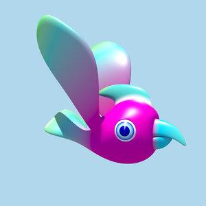 obj bird character riggid
