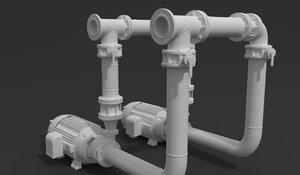 pipe pump motor 3D