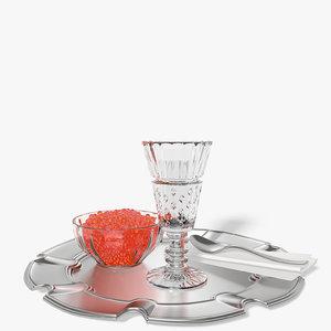 shot glass vodka caviar 3d 3ds