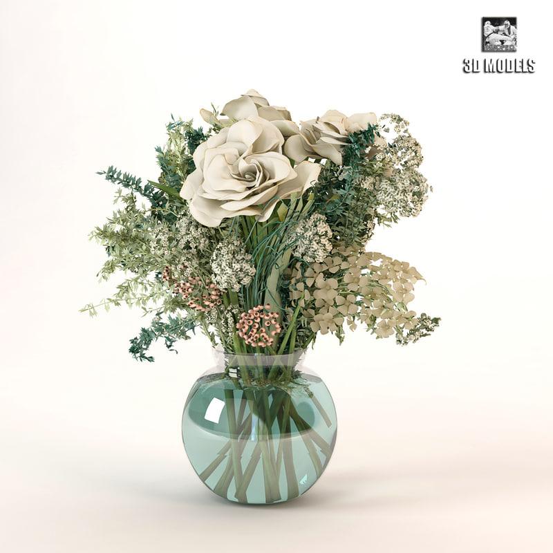 bouquet roses obj