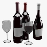 3d wine bottle glass