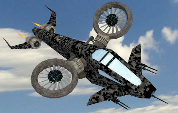 scifi helicopter objects obj